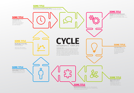 Thin line infographics template with steps in circle arrows