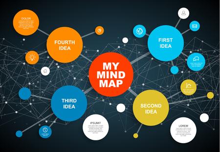 Modèle d'infographique de carte esprit abstrait Vector avec place pour votre contenu - version sombre