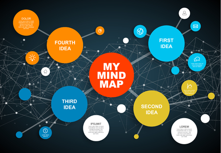 Vector abstract mind map infographic template with place for your content - dark version