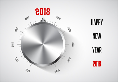 New year 2018 card template with metal knob