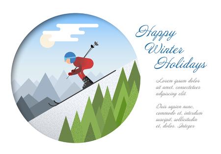 Winter kaartsjabloon - platte ontwerp Skiër glijden van de besneeuwde heuvel in de winter vectorillustratie.