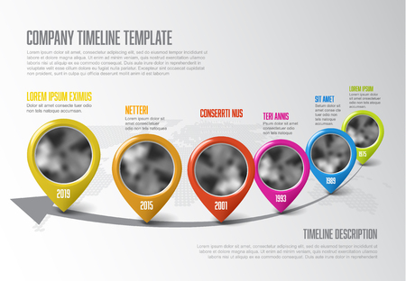Vector Infographic Company Milestones Timeline Template with pointers and photo placeholders on a curved line and world map in the background