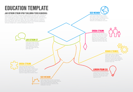 School education Infographic template made from colorful lines and icons Illustration