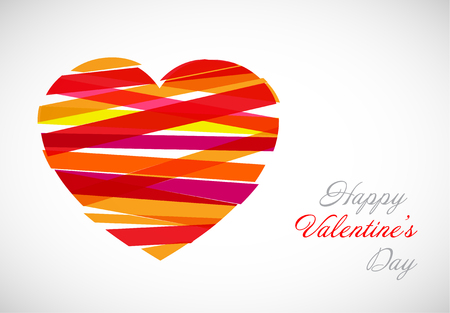 Vector valentine card template with  modern heart illustration made from color stripes Illustration