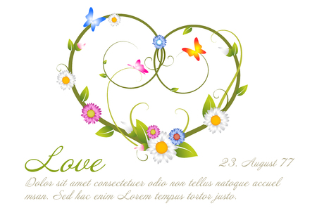 Love card  frame template made from flowers and leafs