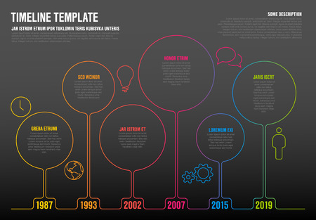 Vector Infographic time line template made from thin line circles and icons - dark version