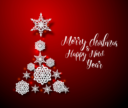 Christmas card with tree made from paper snowflakes on a red background