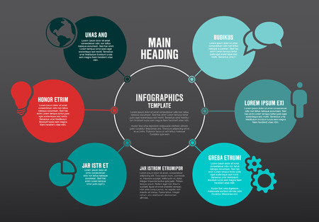 Infographic diagram template made from lines and icons - dark version