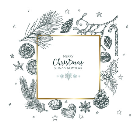 Vector vintage hand drawn Christmas card with various seasonal shapes - ginger breads, mistletoe, cone, nuts - black version with golden frame border