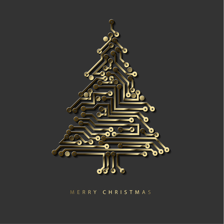 Christmas tree made from digital golden electronic circuit on dark gray illustration. Çizim