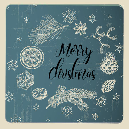 Vector vintage hand drawn Christmas card with various seasonal shapes - ginger breads, mistletoe, cone, nuts - blue ring frame version