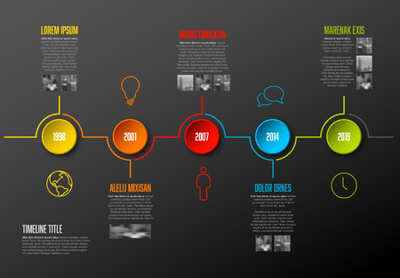 Info-graphic company milestones timeline template with colorful circles and photo placeholders - dark version.
