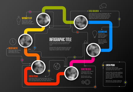Abstract Infographic Template with circle photo placeholders on colorful line - dark version Ilustração