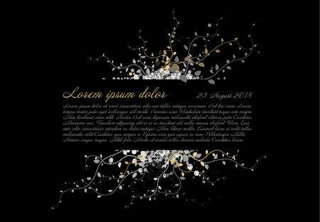 Black funeral card template with white and golden flowers and place for your content Standard-Bild - 93892581