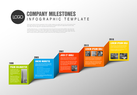 Color blocks timeline template with sample photos and text content made from folded paper Illustration