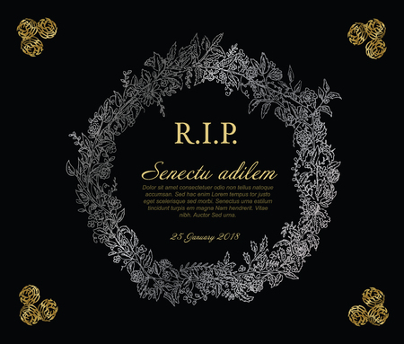 Silver and golden flower frame illustration template made from various flowers - funeral card template