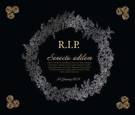 Zilveren en gouden bloem frame illustratie sjabloon gemaakt van verschillende bloemen - begrafenis kaartsjabloon