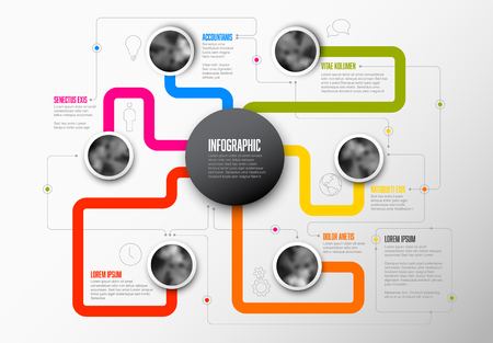 Abstract Infographic Template with main topic in the middle and another six circle photos around Illustration