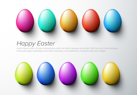 Modern minimalist colorful happy easter card with colorful eggs