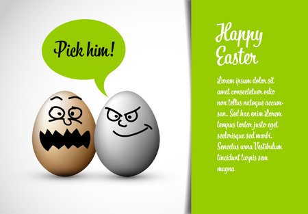 Funny easter card with easter eggs and a speech bubble with text: Pick him!