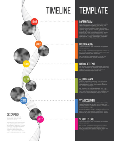 Vector Infographic Company Milestones Timeline Template with circle photo placeholders on colorful line - vertical version Vectores