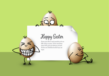 Funny vector easter eggs - Happy green Easter Card template