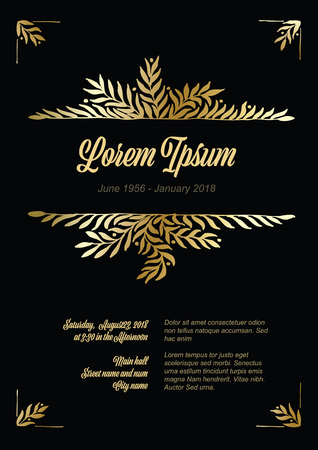 Golden flower frame illustration template made from leafs - funeral card template