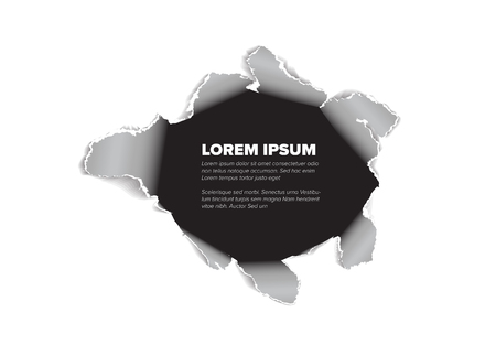 Realistic hole in the sheet of paper - template for your webpage or flyer Stock Illustratie