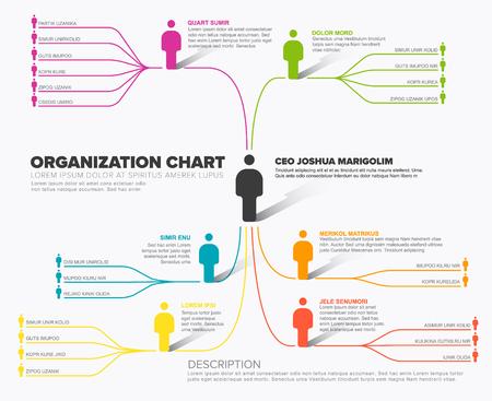 Minimalist company organization hierarchy schema diagram template  Illustration