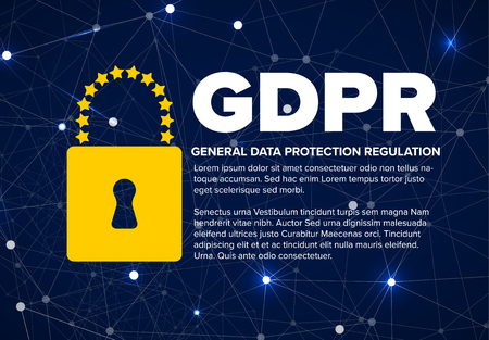 European GDPR concept flyer template illustration - dark blue version