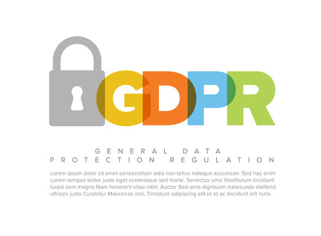 European GDPR concept flyer header template illustration  イラスト・ベクター素材