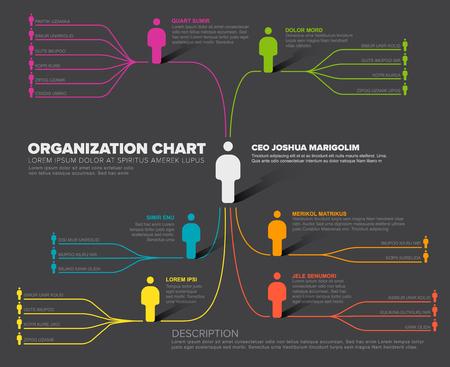 Minimalist company organization hierarchy schema diagram template - dark version