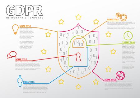 European GDPR concept flyer infographic template illustration - light version Illustration
