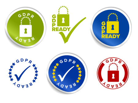 European GDPR Ready badges, tags, stams and labels template