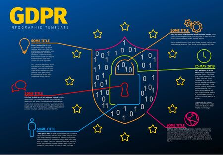 European GDPR concept infographic template illustration - dark blue version