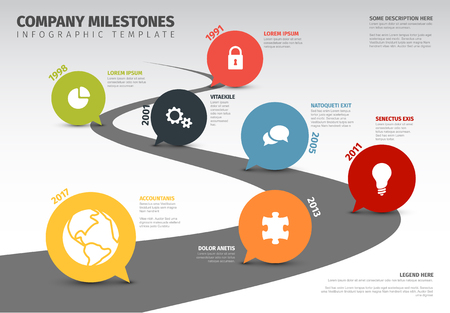 Vector Infographic Company Milestones Timeline Template with pointers on a road line
