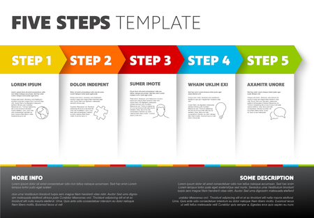 Five progress steps template with descriptions and icons Ilustração