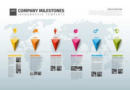 vector infografía diagrama de infografía línea de tiempo de la empresa con punteros en una línea y mapa mundial en el fondo