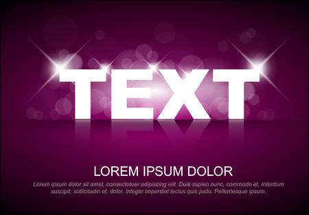 A Vector glossy light effect on sample text template Ilustração
