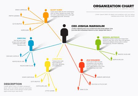 Minimalist company organization hierarchy schema diagram template Vector Illustration