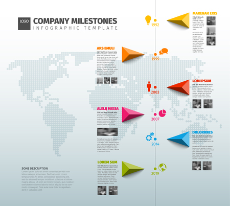 Vector Infographic Company Milestones Timeline Template with pointers on a line and world map in the background - vertical version Vectores