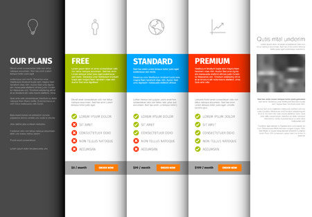 Product  service pricing comparison table template with description - light version