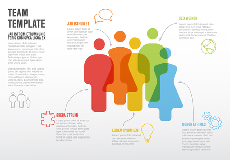 People team infographic template for company overview or hierarchy schema Illustration