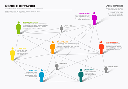 Minimalist vector people network 3d diagram template