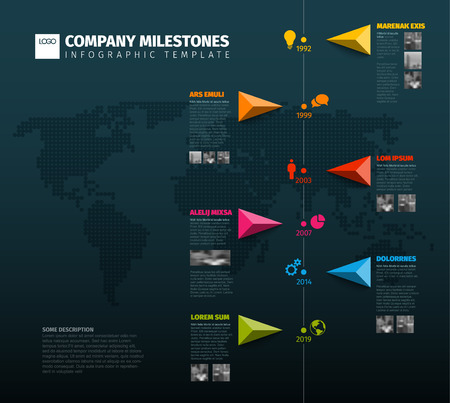 Vector Infographic Company Milestones Timeline Template with pointers on a line and world map in the background - dark vertical version