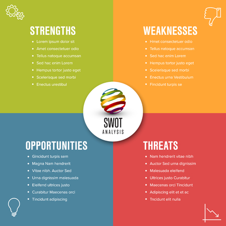 Vector SWOT diagram schema template made from four colorful squares Иллюстрация