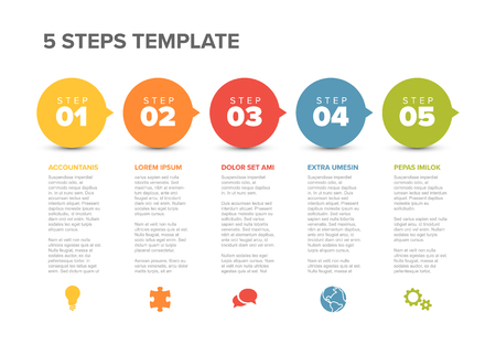 Vector five steps progress template with descriptions and icons