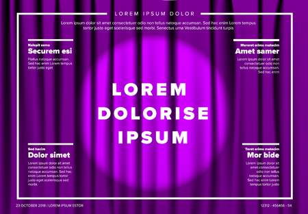 Vector theatre stage poster template with curtain and spotlight