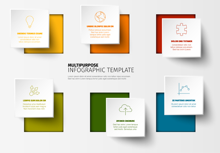 Vector Minimalist colorful Infographic report template with square blocks