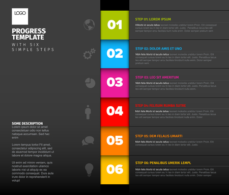 One two three four five six - vector progress template with six steps, descriptions and icons, vertical dark version